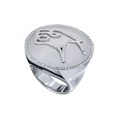Bvlgari Bulgari BVLGARI GIANNI ENIGMA QUARTZ ROCK CRYSTAL DIAMOND JAGUAR RING