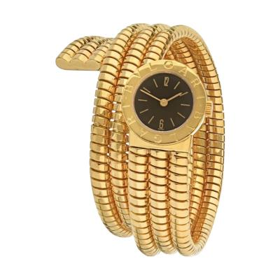 Bvlgari Bulgari BVLGARI TUBOGAS 18K YELLOW GOLD BLACK DIAL 19MM WATCH