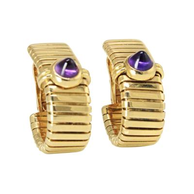 Bvlgari Bulgari BVLGARI TUBOGAS 18K YELLOW GOLD WITH AMETHYST EARRINGS