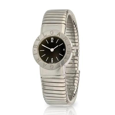 Bvlgari Bulgari BVLGARI TUBOGAS STAINLESS STEEL 23MM ROUND BLACK DIAL WATCH
