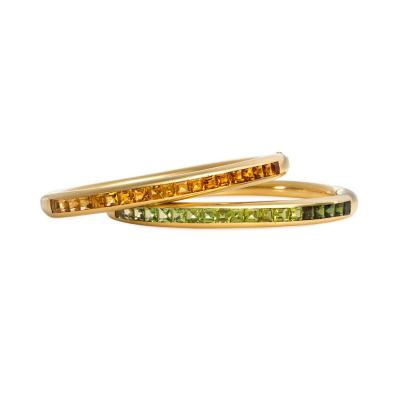 Bvlgari Bulgari Bulgari 1970s Gold Bracelets Set with Citrines and Peridots Respectively