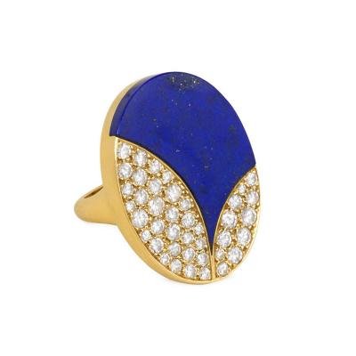 Bvlgari Bulgari Bulgari 1970s Lapis and Pav Diamond Ring