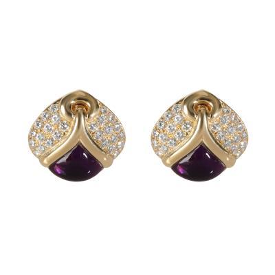 Bvlgari Bulgari Bulgari Amethyst Diamond Earring in 18K Yellow Gold 2 60 CTW