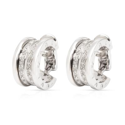Bvlgari Bulgari Bulgari B zero1 Diamond Hoop Earring in 18K White Gold 1 08 CTW