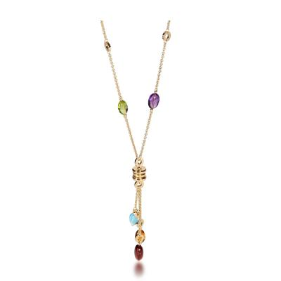 Bvlgari Bulgari Bulgari B zero1 Multi Colored Gemstone Necklace in 18K Yellow Gold