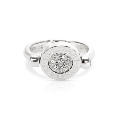 Bvlgari Bulgari Bulgari Flip Diamond Onyx Ring in 18KT White Gold 0 07 CTW