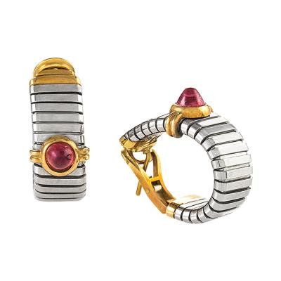 Bvlgari Bulgari Bulgari Late 20th Century Rubellite Gold and Steel Hoop Earrings