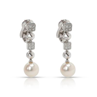 Bvlgari Bulgari Bulgari Lucea Pearl Diamond Drop Earring in 18K White Gold 0 5 CTW