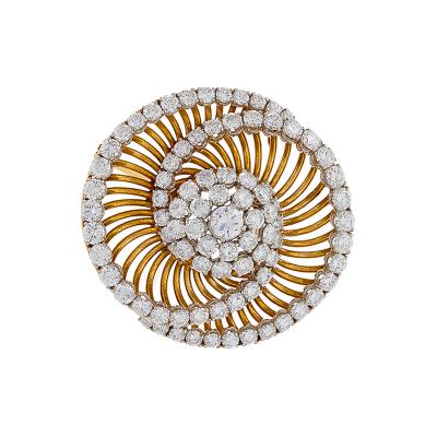 Bvlgari Bulgari Bulgari Mid 20th Century Diamond and Gold Swirl Brooch
