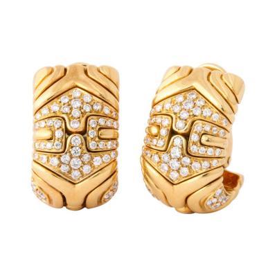 Bvlgari Bulgari Bulgari Pair of 18K Gold and Diamond Parentesi Earrings