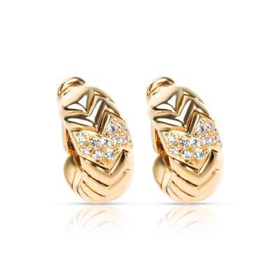 Bvlgari Bulgari Bulgari Spiga Curved Diamond Hoop Earrings in 18KT Yellow Gold 0 75 CTW
