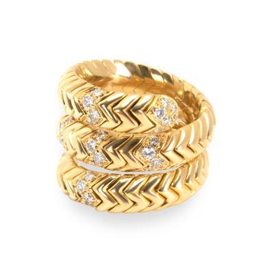 Bvlgari Bulgari Bulgari Spiga Diamond Ring in 18K Yellow Gold 0 30 CTW
