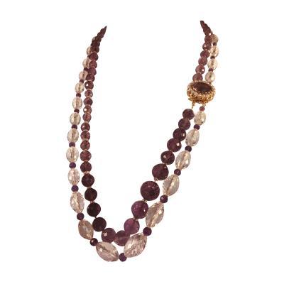 Bvlgari Bulgari Bulgari Style Amethyst Rock Crystal Necklace Ornate Amethyst Pearl Clasp