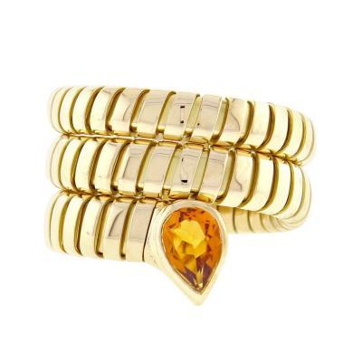 Bvlgari Bulgari Bulgari Tubogas Gold Citrine Wrap Ring