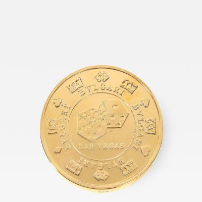 Bvlgari Bulgari Bvlgari Bulgari Sterling Silver Gilt Oversized Casino Paperweight Coin Vegas