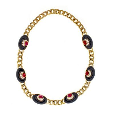 Bvlgari Bulgari Bvlgari Diamond Black Onyx and Ruby Necklace