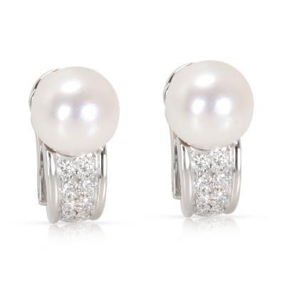 Bvlgari Bulgari Bvlgari Pearl Diamond Earrings in 18K Yellow Gold 0 16 CTW