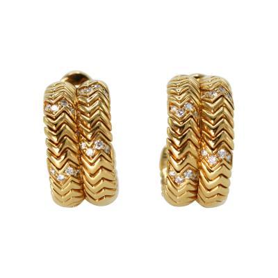 Bvlgari Bulgari Pair of 18 Karat Gold and Diamond Earclips by Bulgari Italy