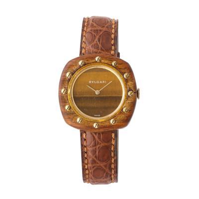 Bvlgari Bulgari Vintage Bulgari 18 Karat Gold and Wood Wristwatch circa 1970