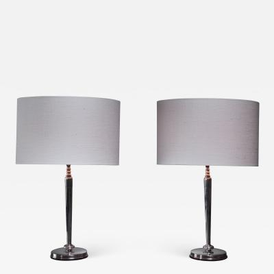 C G Hallberg C G Hallberg pair of silver table lamps Sweden