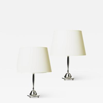 C G Hallberg Pair of Organically Modeled Silvered Lamps by C G Hallberg