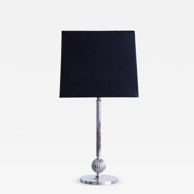 C G Hallberg Silvered Brass Table Lamp by C G Hallberg