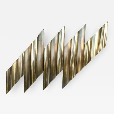 C Jer C Jere Style Brass Plated Wall Sculpture circa 1970s