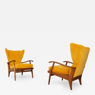 CAMEA Pair of Mid century Italian armchairs Velvet Yellow by Camea 1950s
