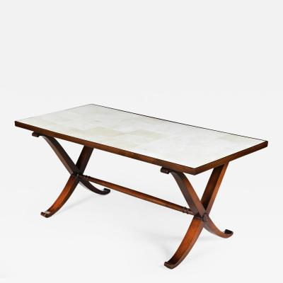 COMTE A vellum low table by Comte after Jean Michel Frank