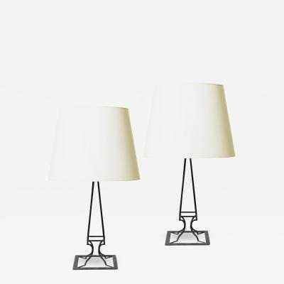 COMTE Pair of Neoclassical Obelisk Form Table Lamps by COMTE