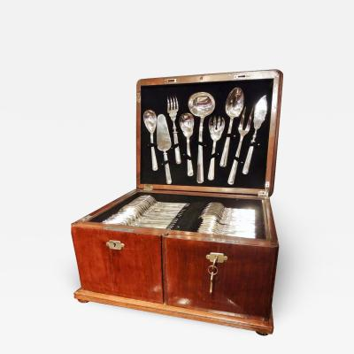 Calderoni Complete Silver Set in Wooden Chest by Calderoni Fratelli