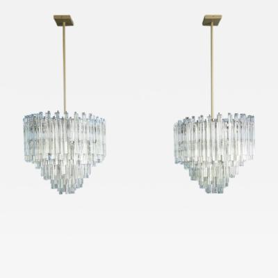 Camer Glass Large Scale Pair of Camer Crystal Chandeliers