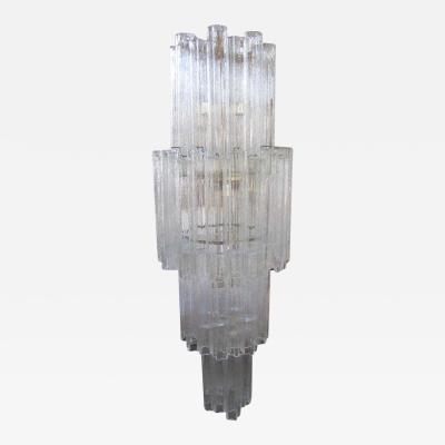 Camer Glass Monumental 6 Foot Camer Venini Glass Tronchi Tube Chandelier Mid century Modern