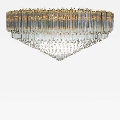 Camer Glass Monumental Italian Brass Crystal Flush Mount Chandelier by Camer Venini Murano