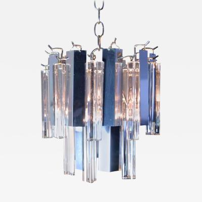 Camer Glass Petite Steel and Glass Chandelier by Camer