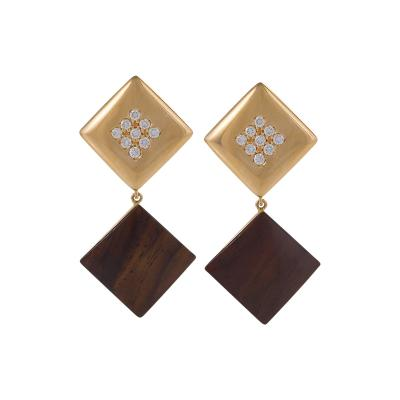 Cantamessa Gold Diamond and Ebony Earrings by Cantamessa