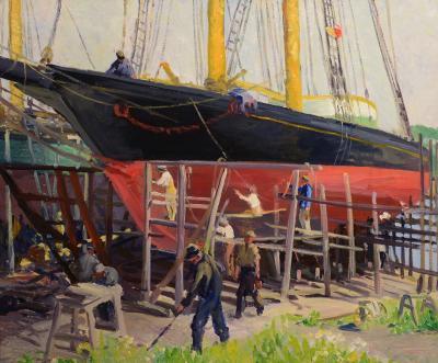 Cape Ann School ca 1930 40s Dry Dock Schooner