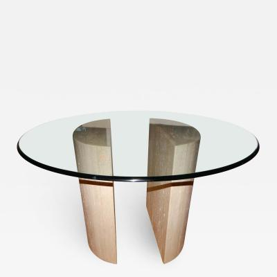 Cappellini Travertine Glass Mid Century Style Dining Table Center Table Italy 1 jpg