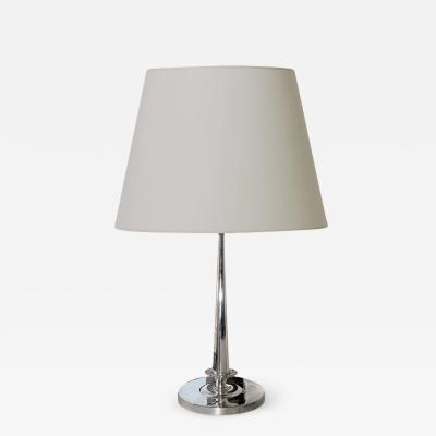 Carl Hallberg Workshop Exquisite Silvered Table Lamp with Lotus Motif by C G Hallberg