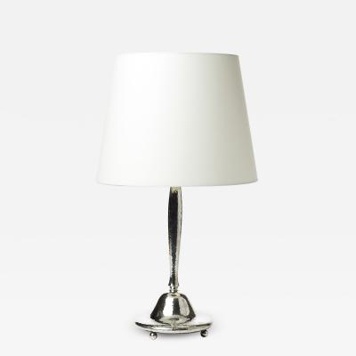 Carl Hallberg Workshop Jugend Style Silvered Table Lamp by C G Hallberg Workshop