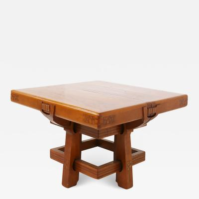 Carlo Piero Zen Italian Table Liberty attributed to Carlo Zen in solid walnut inlaid wood