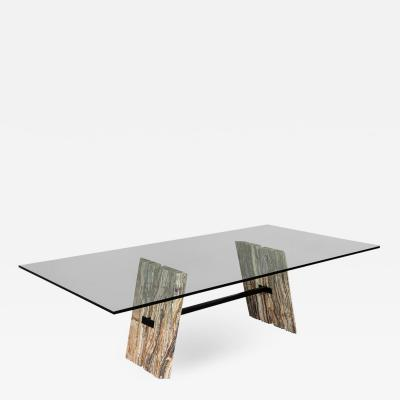 Carrocel Interiors Custom Cantilever Stone Base Glass Top Dining Table
