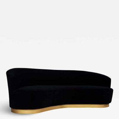 Carrocel Interiors Custom Modern Black Velvet Sofa with Gold Leaf Base