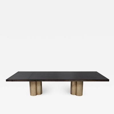 Carrocel Interiors Custom Modern Grey Dining Table with Metal Tulip Pedestals