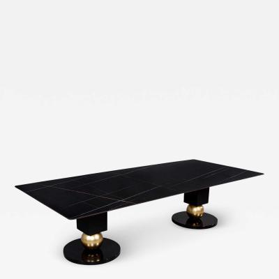 Carrocel Interiors Custom Modern Porcelain Black Dining Table with Geometric Pedestals