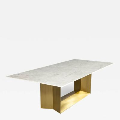 Carrocel Interiors Custom Modern Porcelain Dining Table with Crystal Ice Top and Brass Angled Base