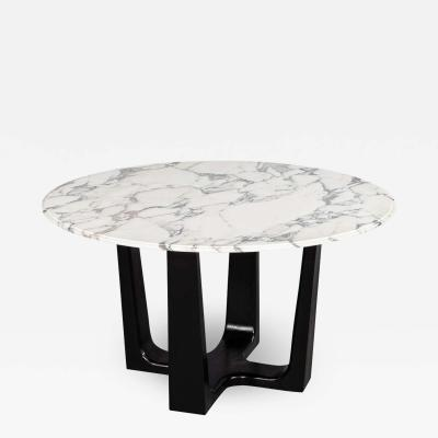 Carrocel Interiors Custom Modern Round Marble Top Dining Table