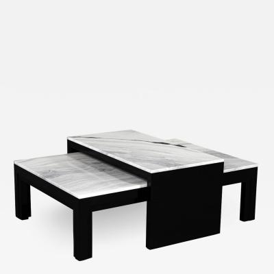 Carrocel Interiors Custom Modern Stone Top Cocktail Table with Nesting Table Design