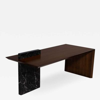 Carrocel Interiors Custom Modern Waterfall Desk with Marble Accent