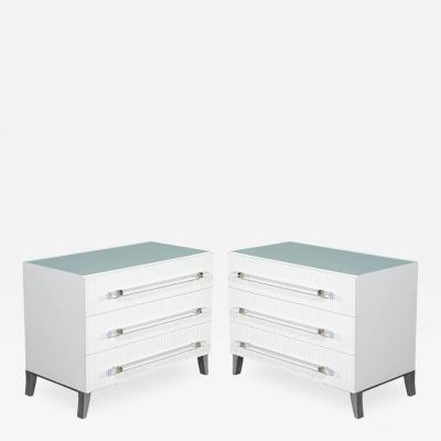 Carrocel Interiors Custom Modern White Chests with Ribbed Facade
